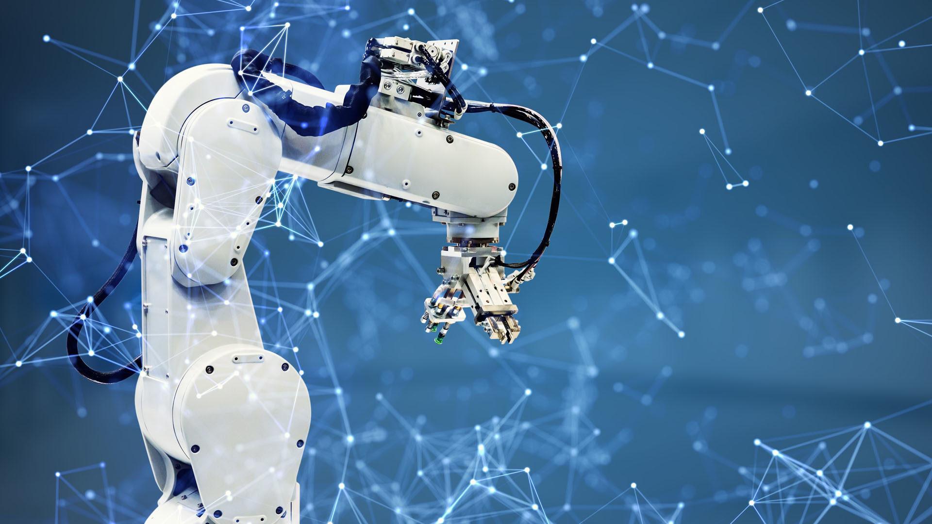 Roboterarm in Futuristischer Welt